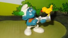 Smurfs Hunter Smurf 20106 Yellow Bird on Gun Rare Vintage Display Germany Figure