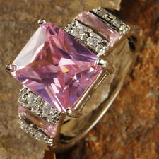 Pink & White Topaz Gemstone Silver Women Wedding Ring Size 12 Fashion Jewelry