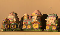3 Spring Easter Bunny Village House Porcelain Hand Painted