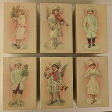 Lot of 6 Costco Porcelain Victorian Angel Christmas Tree Glitter Ornaments