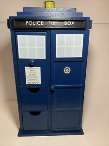 Doctor Who Tardis Wooden Jewelry Box with Drawers, Hooks and Ring Inserts