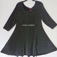 MAGNA Lagenlook Tunika Kleid 3/4 Arm+super A-Linie schwarz-silber 48-50 (4)