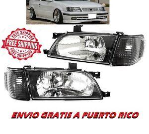 For 95 99 Toyota Tercel Headlamp Black JDM Headlight Set Left Right