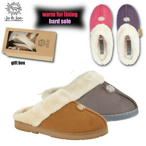 LADIES FUR LINED SLIPPERS SNUGGLE  MULES WINTER WARM BEDROOM HOUSE WOMENS SHOES
