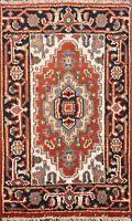 Geometric Heriz Oriental Area Rug Wool Hand-Made Traditional Kitchen Carpet 2x3