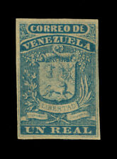 VENEZUELA 1859 Coat of Arms - Fine Impression - 1r blue Scott # 2 mint MH VF  R