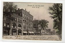 GENESEE ST AND CITY HALL, UTICA - New York USA postcard (C818).