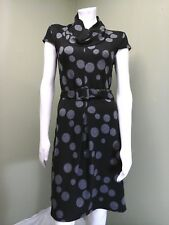 AB Studio Women's Black & Gray Polka Dot Dress W/ Belt~Size 2