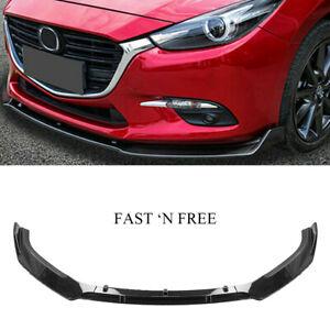 Front Bumper Lip Spoiler for MAZDA 3 2014 2015 2016 2017 2018 Carbon Fiber MAS