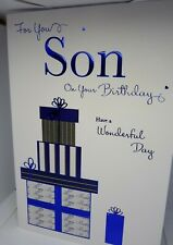 Son Birthday Card Blue Foil With Presents on Front of embossed Card  ICG 7160