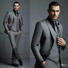 Dark Grey Mens Suit Groom Wedding Formal Suits For Best Men Slim Fit Tuxedos