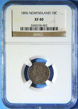 1896 Newfoundland Canada Canadian Old 10 Cent Victoria Coin NGC XF 40