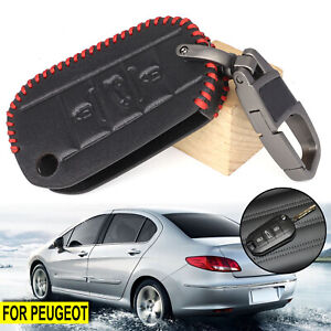 Car Leather Key Remote 3 Buttons Cover For Peugeot 208 2008 308 3008 508 Keyring
