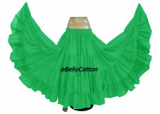 KELLY GREEN Cotton Gypsy Skirt 25 Yard 4Tiered Tribal Belly Dance Flamenco jupe