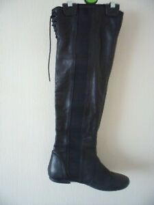 Dune leather black knee high over boots 38 5 pull on elastic lace up corset back