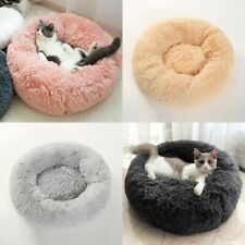 Pet Dog Cat Calming Bed Warm Fluffy Puppy Kitten Fur Donut Deep Sleep Cushion