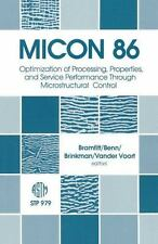 Micon 86: Optimization of Processing, Properties, and Service-ExLibrary