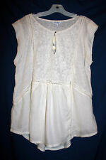Lucky Brand Womens L Ivory Knit / Woven Sleeveless Top Embroidered NWT