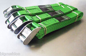 4-pack of 3.0m TOUGH Cam Buckle Straps Green - Trailer Cargo Tie-down Lashings