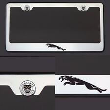T304 SS Chrome Jaguar Logo Black Laser Etched Engraved License Plate Frame Tag