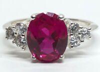 Vintage Sterling Silver Ring 925 Size 8 Pink Stone CZ Signed RJ