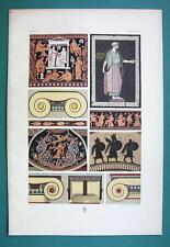 GREECE Polychrome Ornaments Mosaics Capitals - COLOR Litho Print A. Racinet