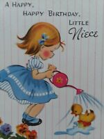 Vtg 1950s Happy BIRTHDAY Little NIECE Girl Waters Duck Embossed GREETING CARD