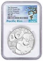 2019 Tuvalu Simpsons Homer 1 oz Silver $1 NGC MS70 FDI Pacific SKU57995