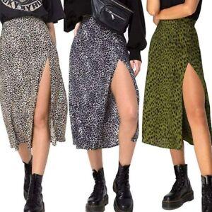 Womens High Waist Leopard Print Dress Ladies Side Split A-Line Midi Skirt