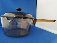 Sculptered Corning Visions Cookware Amber Brown Sauce Pan 1.5L With Lid