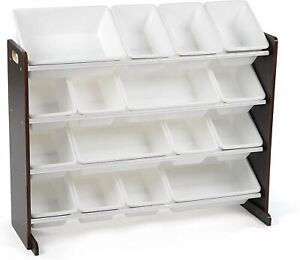 Humble Crew Extra-Large Toy Organizer, 16 Storage Bins, Espresso/White