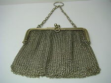 GERMAN STERLING SILVER MESH HANDBAG THEATRE PURSE MESH SILVER WIRE Germany 1920s