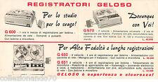 GELOSO -DEPLIANT PUBBLICITARIO DEI REGISTRATORI A NASTRO G600-G570 G650-G651-