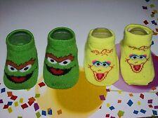 Sesame Street Crib Shoes/Booties/Two Pair Sz OSFM Big Bird Oscar Grouch NIB