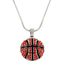 """Basketball Charm Pendant Fashionable Necklace - Sparkling Crystal - 17"""" Chain"""