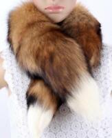 100% Real Fox Fur Handmade Wraps Scarves Warm Shawl Scarf Xmas Gifts