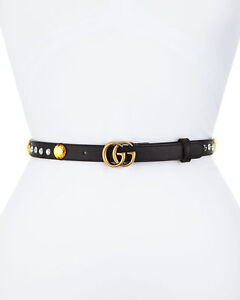 """NEW  Auth Gucci Crystal Embroidered Belt GG Buckle Skinny Belt Black 95cm /38"""""""