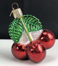 Old World Christmas Glass Ornament Cherries Cherry Bunch Glitter