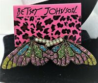 BETSEY JOHNSON BUTTERFLY MULTICOLOR CRYSTAL GOLD STUD EARRINGS