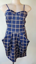 New size 10 Lioness dress stretch navy cream strapless  check plaid NWT