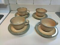 Pfaltzgraff Americana MAFA Folk Art cups saucers (Set of 4) NEW
