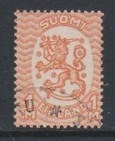 Finland - 1930, 1m Pale Orange stamp - No Wmk - Perf 14 - F/U - SG 206a