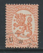 Finland - 1930, 1m Pale Orange stamp - No Wmk - Perf 14 - F/U - SG 206a