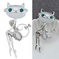 Moda Broche de cristal Diamantes de imitación opal Pequeño Gato Animal Joye~QA