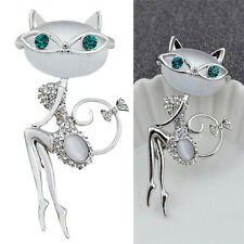 1x Opal Rhinestone Crystal Little Cat Brooch Pin Animal Cute Sexy Jewelry DSUK