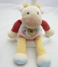 BABY NAT doudou vache velours rose et beige grelot 25 cm