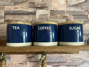 Tea Coffee Sugar Canisters Ceramic Navy & White With Wooden Lid