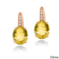 "IMPRESSIVE 10K ROSE GOLD CITRINE DANGLE 1.1"" EARRINGS with Swarovski Crystals"