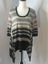 Jessica Simpson Maternity Pullover Sweater High Low  Rayon Strip Gray Size XL