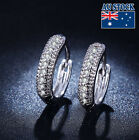 15MM 18K White Gold Filled Hoop Earrings With SWAROVSKI Crystal
